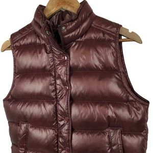 J. Crew Maroon Puffer Down Feather Vest Small NWOT